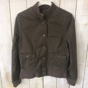 Levi's Army Green Ribbed Cropped Utility Jacket